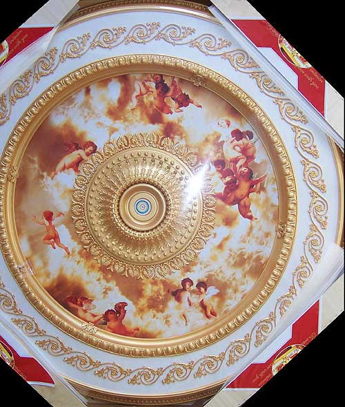 Wishihadthat Ceiling Medallion Angels In Bright Red Clouds