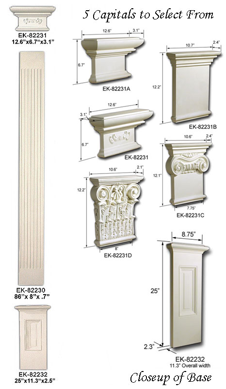 Full half and flat columns at Interior home column design ideas