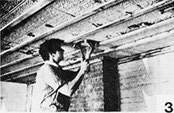 "3. Locate the center of the ceiling, strike a chalk line perpendicular to the ceiling beams. This insures that the furring will be nailed into the beams. Working out from this line, snap chalk lines at 12-inch intervals. Place the edge of the furring strip along each line and areas by inserting shims between the furring strips and the ceiling. If ceiling is level, we find that plywooding the whole ceiling is not only easier but lowers the ceiling less (3/8"" or 1/2"" is fine)."