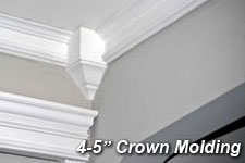 Minimalist Crown Molding Ideas for Wide Room with Cream Painted Wall and  White Pillars near Classic