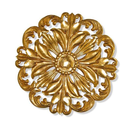 Wishihadthat 18k Gold Foil Ceiling Medallion Leaf Design