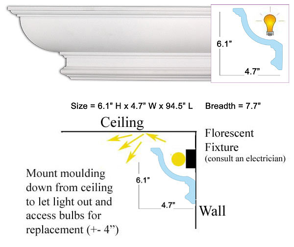 Cm 1118 crown molding for Crown molding size chart
