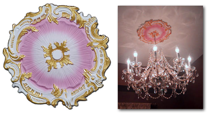 Wishihadthat Light Fan Ceiling Medallion Painted Pink
